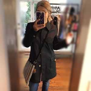 Old Navy Black Tailored Trench Coat